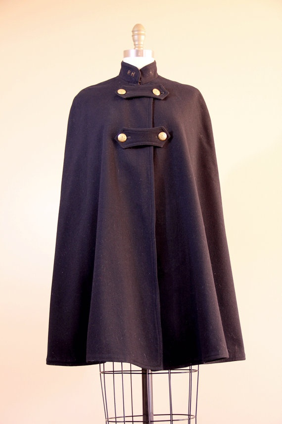 nurses cape // navy WWII wool cape // 1940s 40s womens military uniform // vintage cape. $295.00, via Etsy.