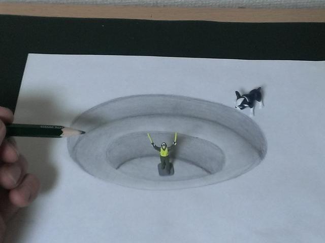 トリックアート 紙に穴を開ける方法 絵 簡単 トリックアート だまし絵