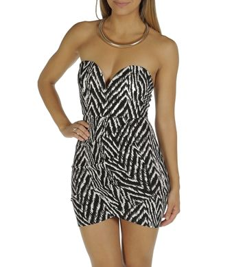 Black Tiger Stripe Wrap Dress