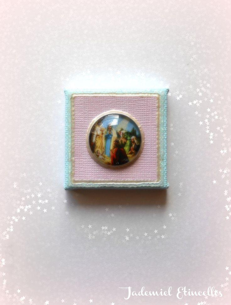"""* Noël * Toile miniature décorative série """" Sainte Nuit ... """" n°73 : Accessoires de maison par jademiel-etincelles"""