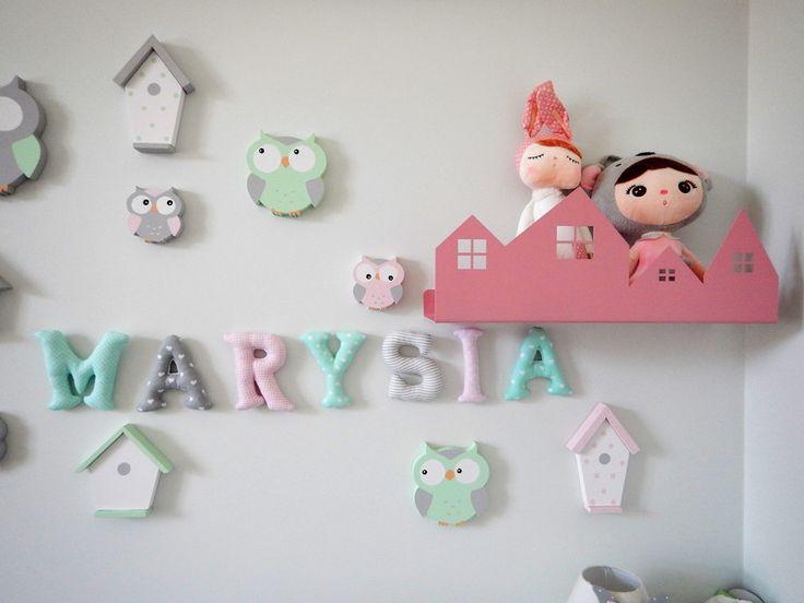 """Różowa półka z kolekcji """" Pastelowe Domki """" - LaNinaDecor - Dekoracje do pokoju dziecka"""