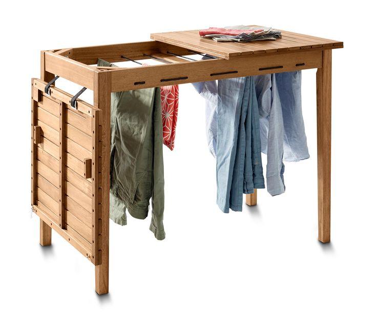 129.00 Fr. Die clevere Lösung für begrenzten Raum: Der multifunktionale Tisch ist gleichzeitig ein Wäscheständer: Einfach die Tischplattenhälften zur Seite klappen – mit nur zwei Handgriffen ist der Tisch verschwunden und die Wäsche lässt sich aufhängen.