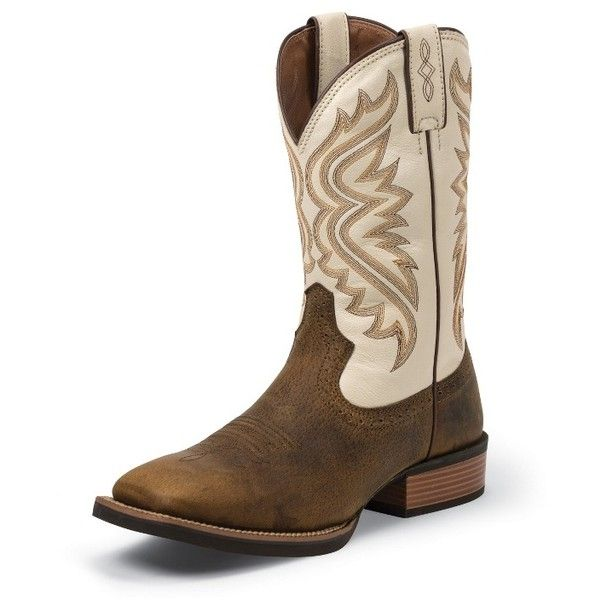 Justin Boots Men's Whiskey Brown Silver Collection Boots ($180) ❤ liked on Polyvore featuring men's fashion, men's shoes, men's boots, mens long boots, mens boots, mens western boots, mens tall boots and mens brown shoes