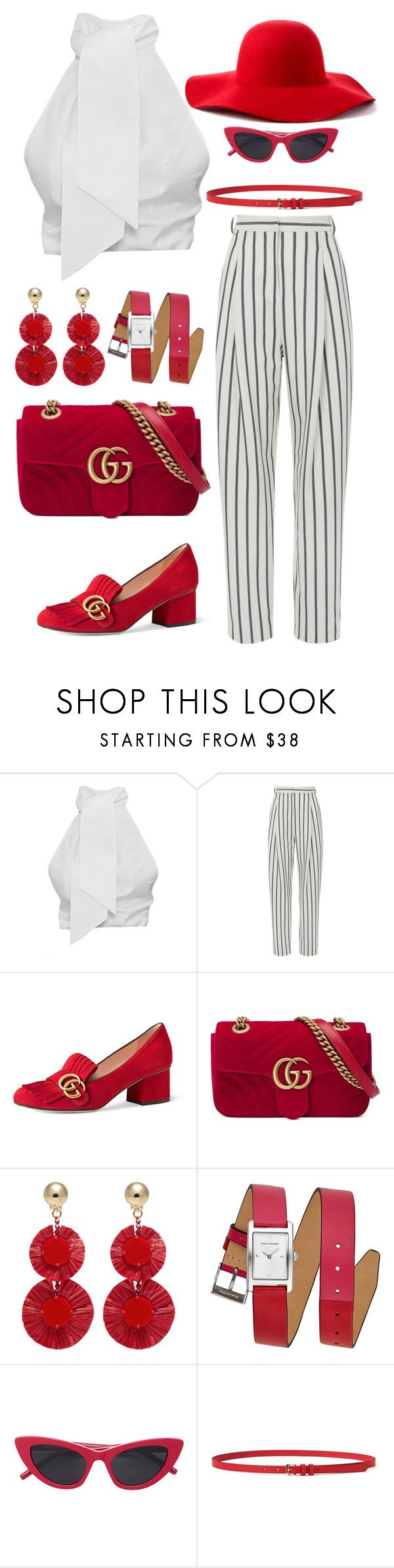 """""""red acc"""" by eboony800 ❤ liked on Polyvore featuring TIBI, Gucci, Oscar de la Renta, Rebecca Minkoff and Scala"""
