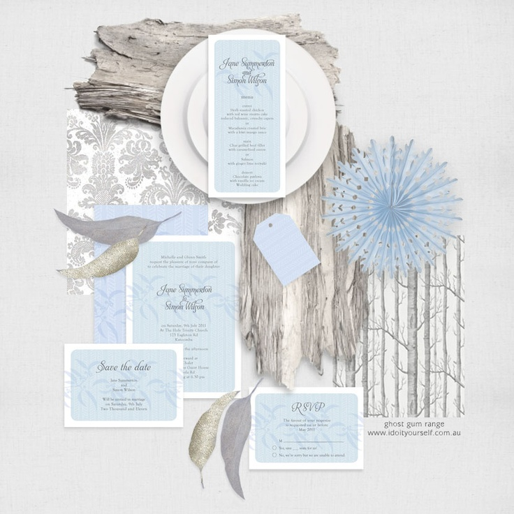 68 best wedding stationery images on pinterest wedding stationery ghost gum wedding stationery set invitation suite printable files woodland winter forest invitation reception or ceremony package solutioingenieria Image collections