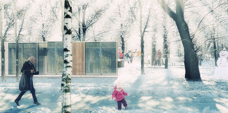 #europan #europan12 #winner #adaptable #city #reuse #landscape #territory  #wittemberge #germany #rendering #refunctionalisation #urban #form #architecture #winter #forest #wood #trees #pavillion