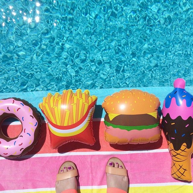 MINTY WARES | Fun inflatable fast food / junk food pool toys. Ice cream, donut, fries and a burger! Perfect for poolside fun. VIA Iconosquare – Instagram webviewer