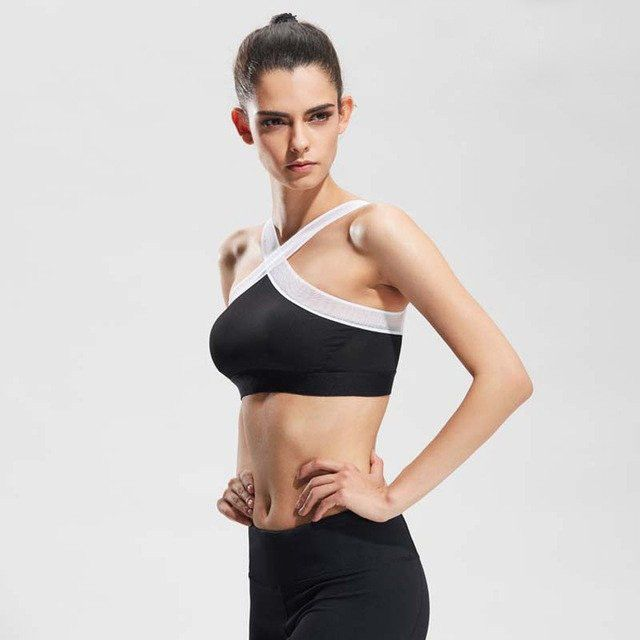 New Women Sexy Sports Bras Quick Dry Gym Criss Cross Mesh Patchwork Top  Training Running Fitness Yoga Bra Black white