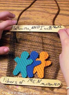 ~ S.C.R.A.P. ~ Scraps Creatively Reused and Recycled Art Projects: Re-Purpose Food Mesh Bags ~ Kids Bible Study Craft ~ Fisher's of Men
