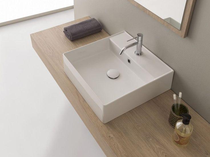 lavabo sobre encimera rectangular de cermica teorema lavabo sobre encimera scarabeo ceramiche