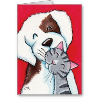 whimsical dog and cat pictures   Best Friends - Cute Whimsical Tabby Cat & Dog Art Greeting Card