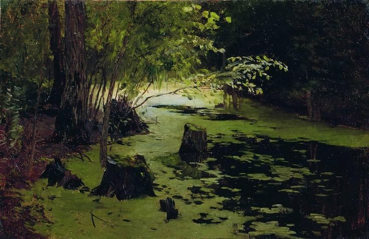 Isaac Levitan (Russian 1860–1900) [Realism, Peredvizhniki] Water margin (A pond), 1898.