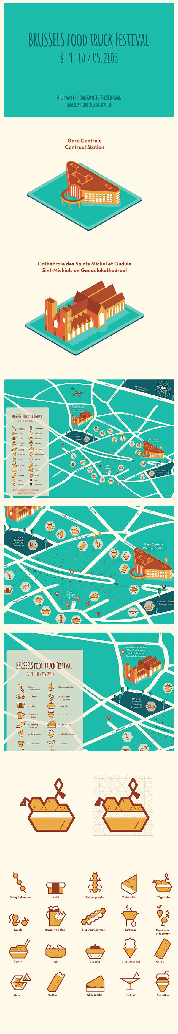 "Isometric Map - ""Brussels Food Truck Festival"" on Behance"