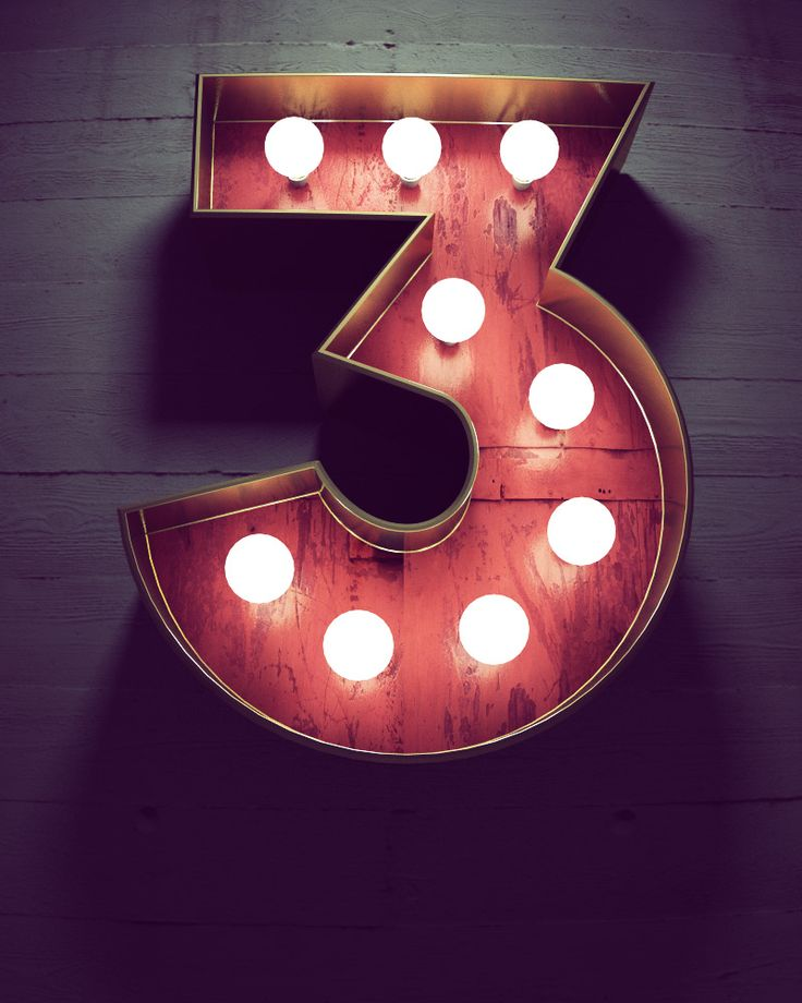 dimensional can sign with lightbulbs, marquee style #number