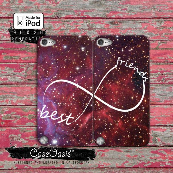 Best Friends Infinity Symbol Pair Space Galaxy Custom Case iPod Touch 4th Generation or iPod Touch 5th Generation Rubber or Plastic Case
