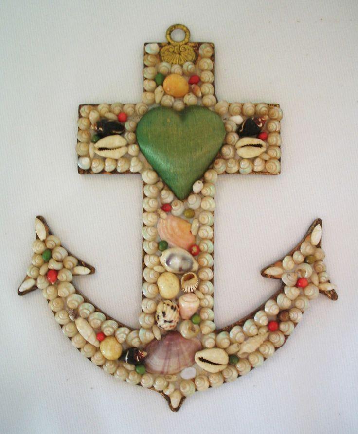 1800's Sailor's Valentine Victorian Shell Folk Art Anchor & Heart BEAUTIFUL!!!