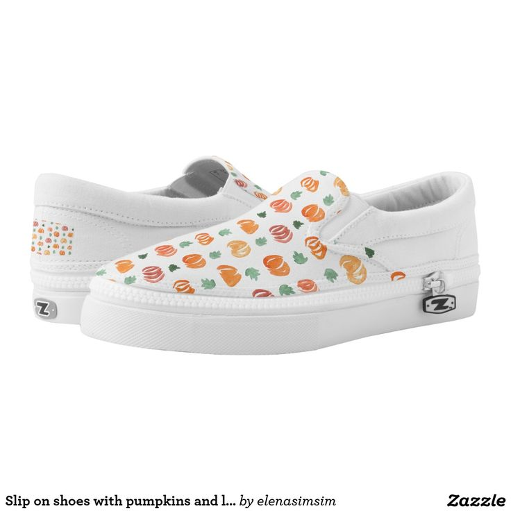 Slip on shoes with pumpkins and leaves