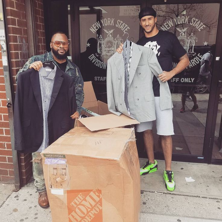 Colin Kaepernick donates custom-made suits outside a New York City parole office