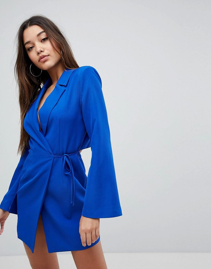 Missguided Cut Out Back Detail Blazer Dress - Blue