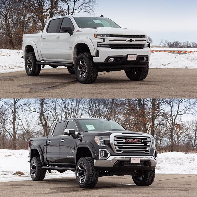 Which Would You Choose 2019 Black Widow Silverado Sierra By Sca Performance Call 262 723 3900 For More Info Chevy Trucks Gmc Sierra Lifted Lifted Silverado