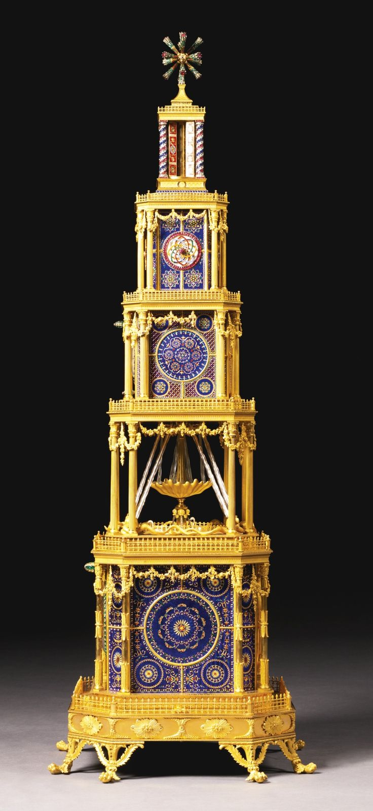 Superb A GEORGE III ORMOLU, GENEVA ENAMEL AND PASTE SET MUSICAL AUTOMATON QUARTER  STRIKING TOWER Pictures Gallery