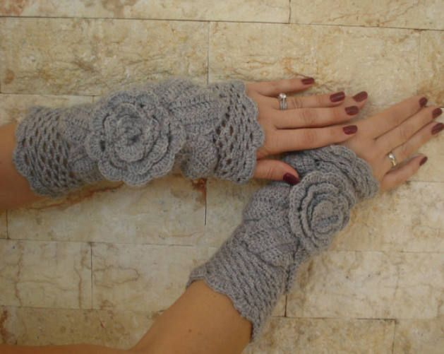 Gloves - in gray color, Women's Medium - hand crocheted- winter accesorize by stellaknittingshop on Etsy