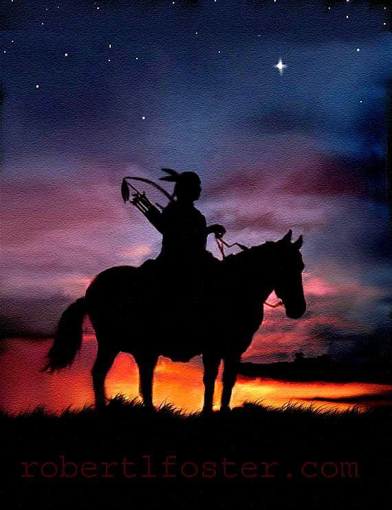 art western Indian art SUNSET BRAVE western art native american indian warrior