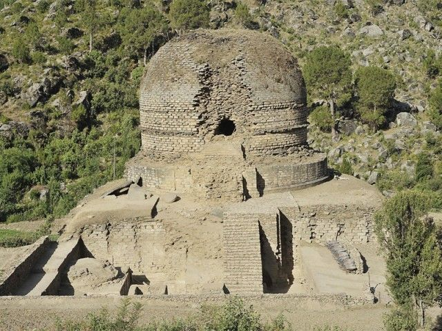 Sheltered by the great Mount Elum, the Amluk-Dara stupa is ...