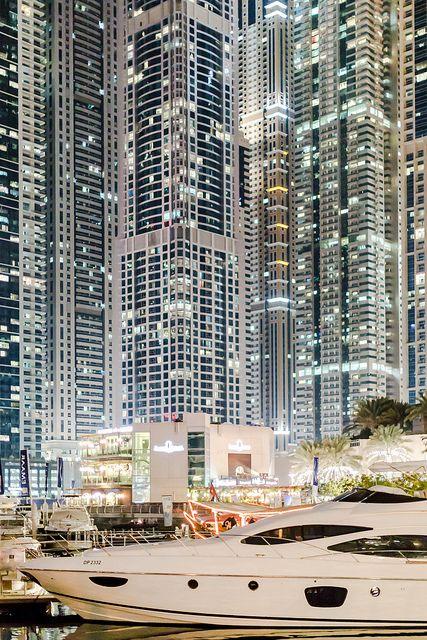 The Marina of Dubai by night. Those lights are impressive!