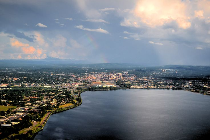 Almost home and a rainbow appears at 3000 feet over the Destiny Mall as we land in Syracuse - 8/1/2016