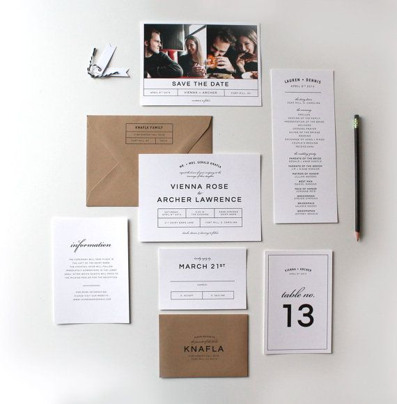 This unique invitation suite boasts a simple yet bold modern design. The design is completely customizable to match any wedding style. You can change