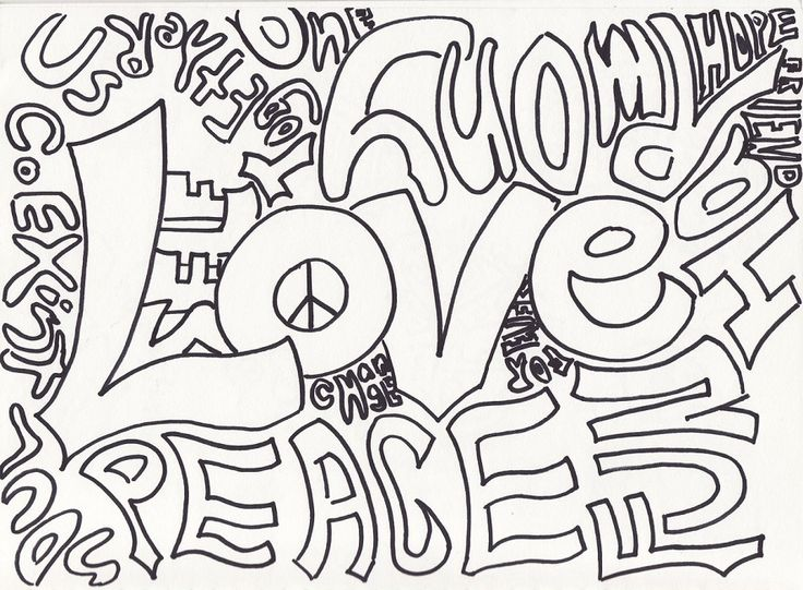 coloring pages peace love - photo#14
