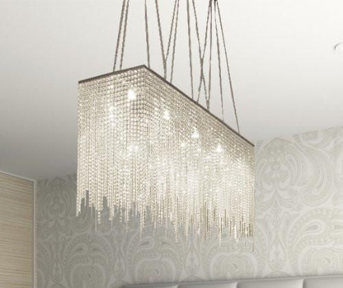 Ten Light Modern Contemporary Dining Room Chandelier Rectangular Chandeliers Lighting Dressed With High Quality Crystal 28 X 36