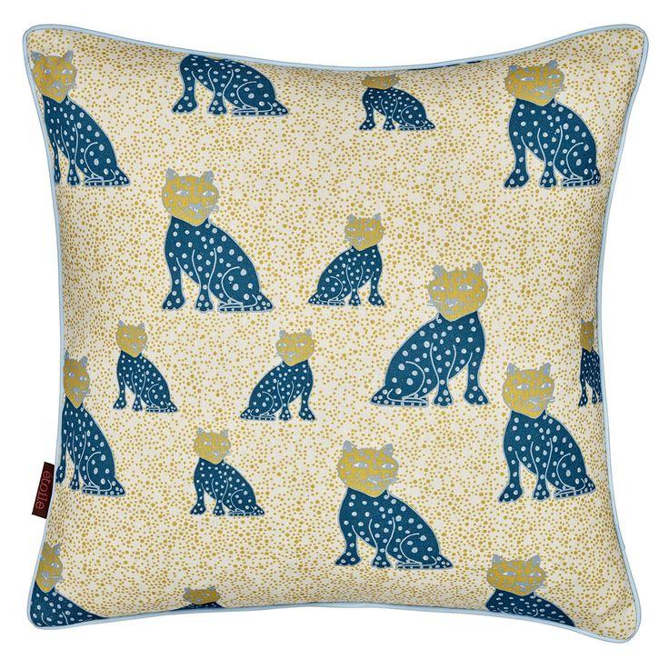 Leopard Cushion - Petrol Blue/Mustard from etoile-home.com