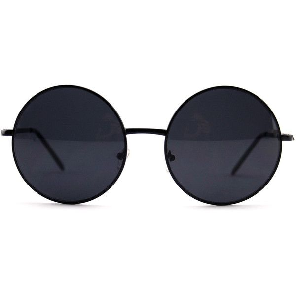 Black Oversized Circle Round Hippie John Lennon Sunglasses ($22) ❤ liked on Polyvore