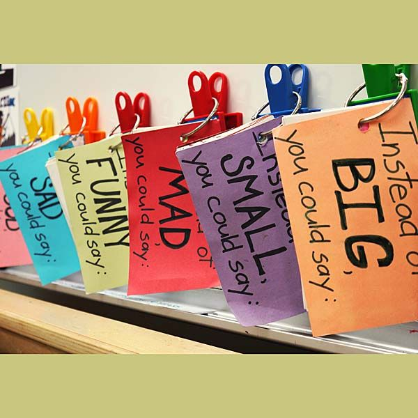 Classroom Tips: Better Than Good! From grade 2 and up, keeping mini, portable thesauruses in your classroom with synonyms for commonly used words is an effective way to support students in expanding their vocabulary and word choice while writing. As students get older and vocabulary becomes more sophisticated, these mini thesauruses can grow to include more words. These are also great for English Language Learners.