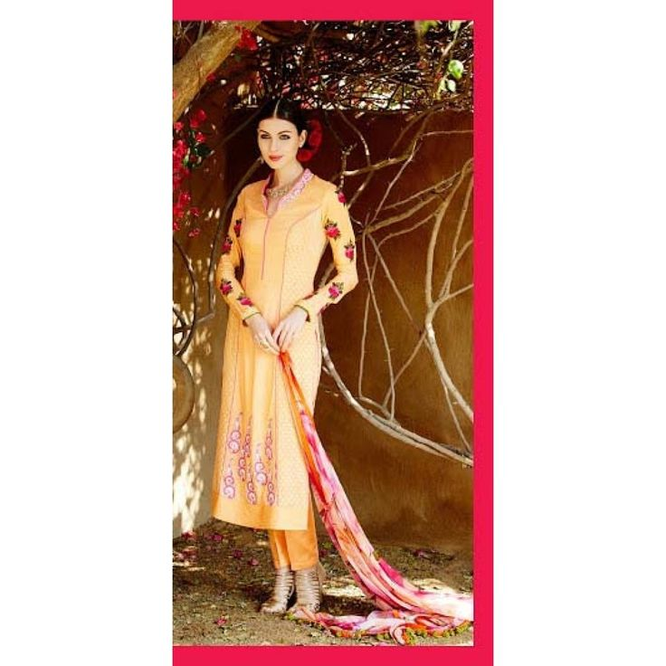 Peach Colour Party Wear Suit with Pink Dupatta & Straight Cut Style