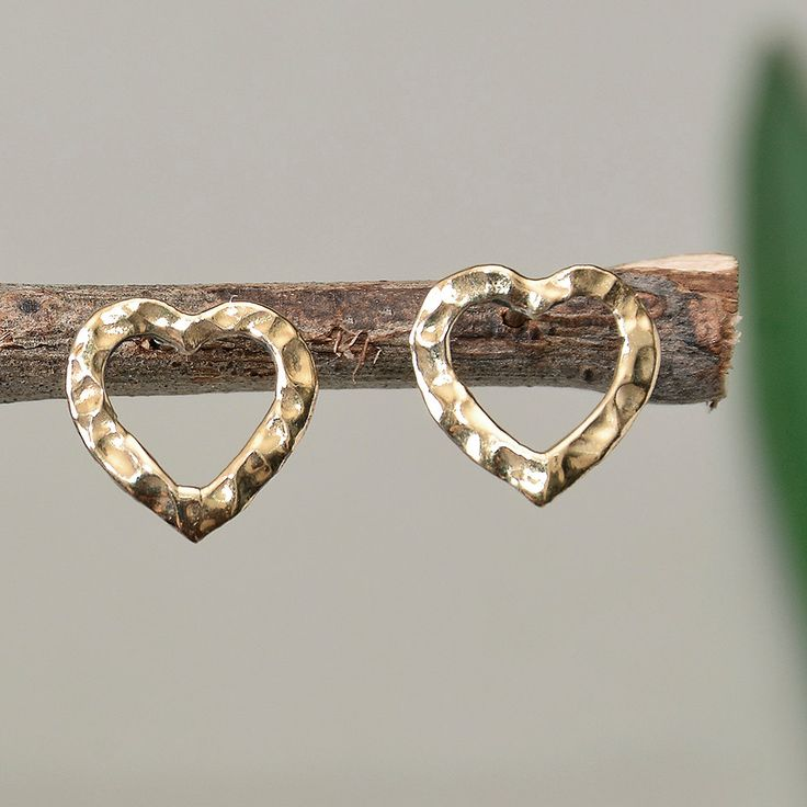 Plain heart studs, hammered small studs, heart brass earrings, plain heart studs, girl earrings, women studs, valentine's gift under 15 by ColorLatinoJewelry on Etsy