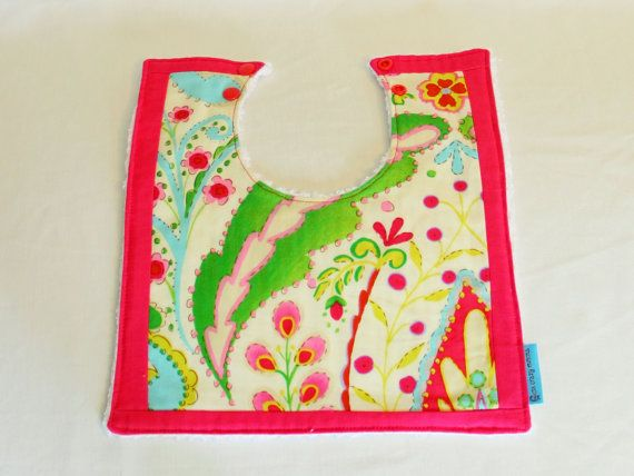 Boutique Bib  Pink Floral with border. Large by OneCrazyMumma