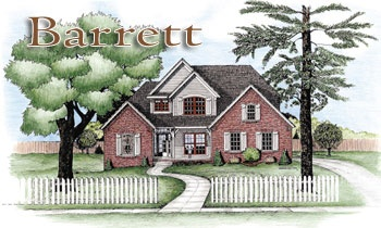 Shuttered windows and the many rooflines accented with brick and wood provides the Berrett (D5148) with a beautiful facade. Three of the windows on the right that face the front provide a disguise for the garage and the unfinished storage area over the garage.: Face, Wood, Brick, Garage