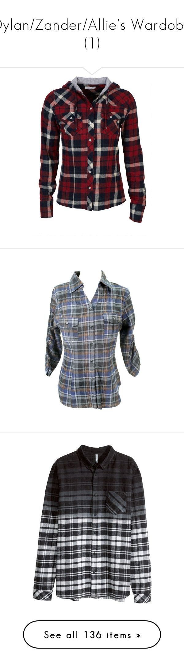 """""""Dylan/Zander/Allie's Wardobe (1)"""" by i-meant-it-ironicly ❤ liked on Polyvore featuring tops, shirts, jackets, flannels, hoodies, plaid button down shirt, red plaid shirt, hooded flannel shirt, plaid flannel shirt and red shirt"""