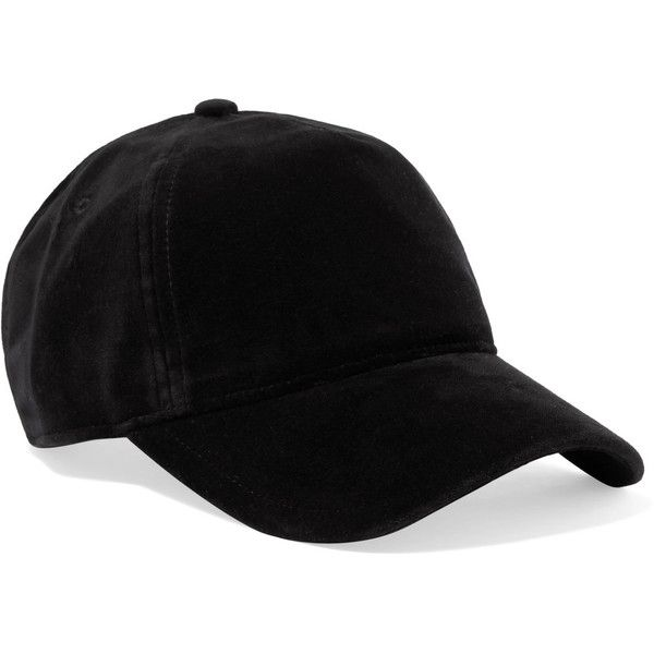 c55d1e7ac42 rag   bone Marilyn leather-trimmed velvet baseball cap ( 125) ❤ liked on  Polyvore featuring accessories