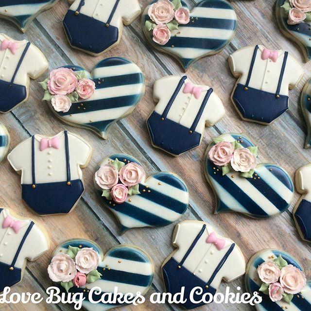 Sophisticated baby shower Cookies! #babyshower #flowers #stripes #navypinkandgold #babyboy #onesies #floral #decoratedcookies #loudouncounty #leesburg #southriding #ashburn #gifts #cookieart #cute #cookies #pretty #cookieclasses #cookiedecoratingclass #loudouncountyactivity #lovebugstudio