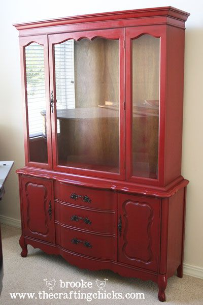 ...and here is just one more for inspiration.  don't think the red is for me but I like that it uses spray paint.  Much easier I would think.  dining-room-hutch-glazed