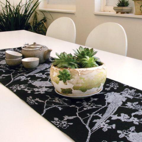 Organic Hemp Tablerunner - Pheasants Silver on Black |  Such a stunning piece