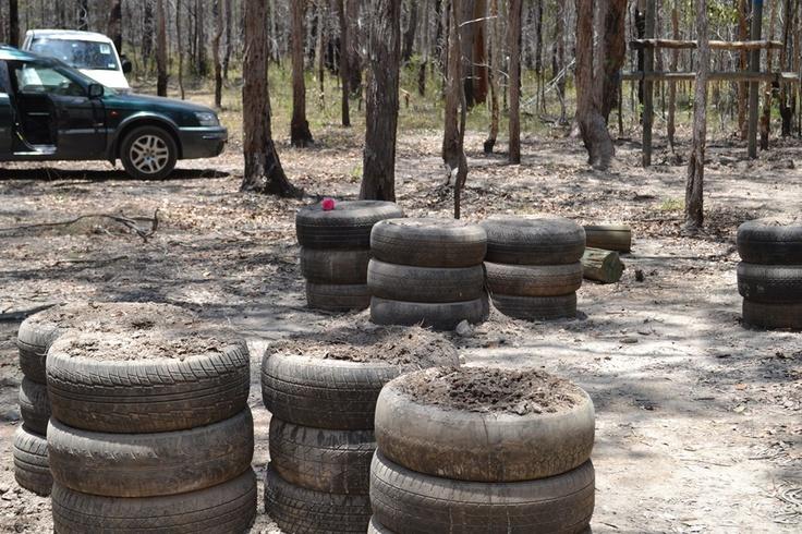 Hmm, a tyre graveyard?