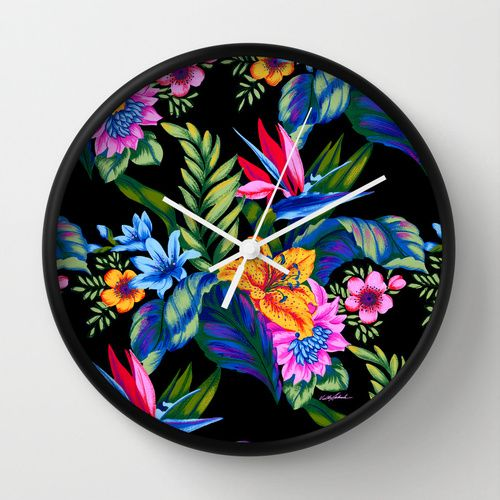Jungle Vibe Wall Clock by Vikki Salmela, #new #bright #Hawaiian #tropical #jungle #island #floral #art on #decorative wall #clocks for #home #office #accessory #decor. Perfect for your #Aloha room, #studio #kitchen or original #gift.
