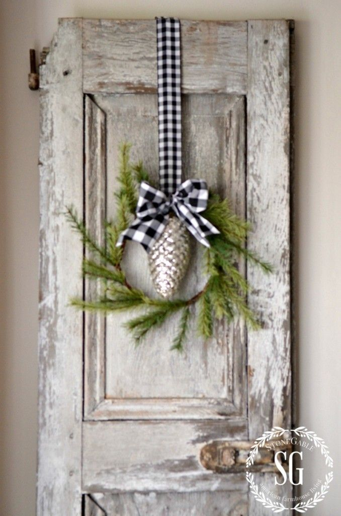 CHRISTMAS FARMHOUSE KITCHEN-chippy shutter-wreath-stonegableblog.com