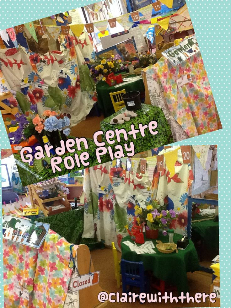 Lots of fake flowers, pots, watering cans, tills, floral fabric and you've got yourself a garden centre!
