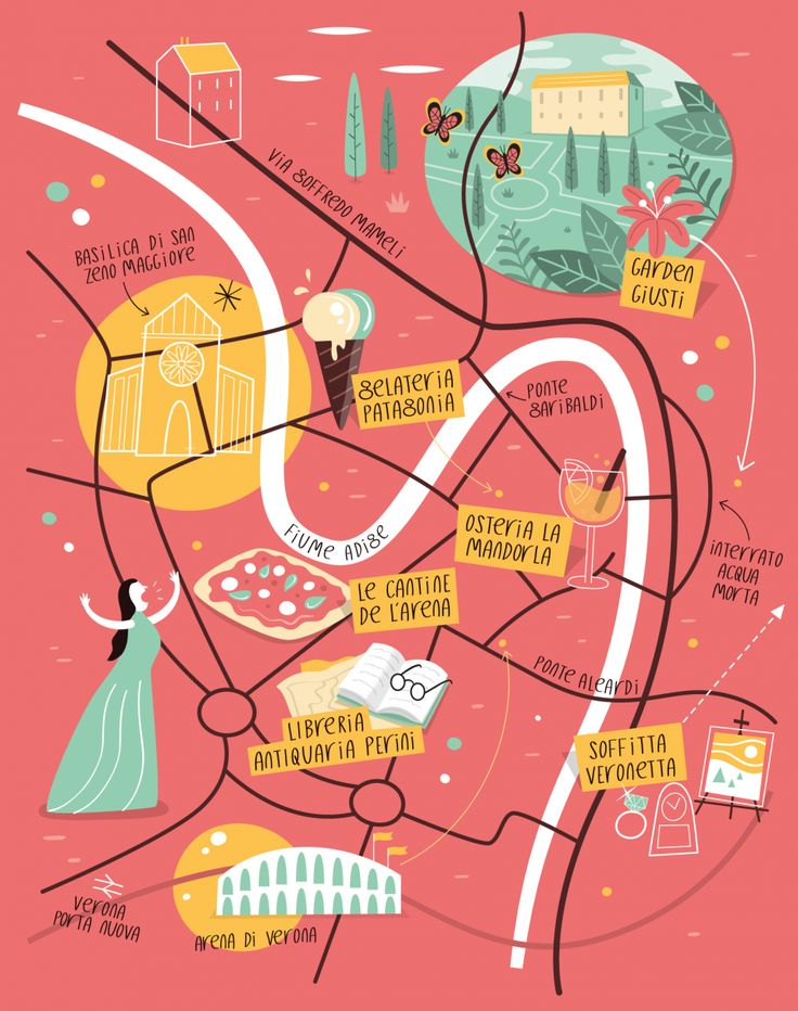 Illustrated map of Verona by Tom Woolley.